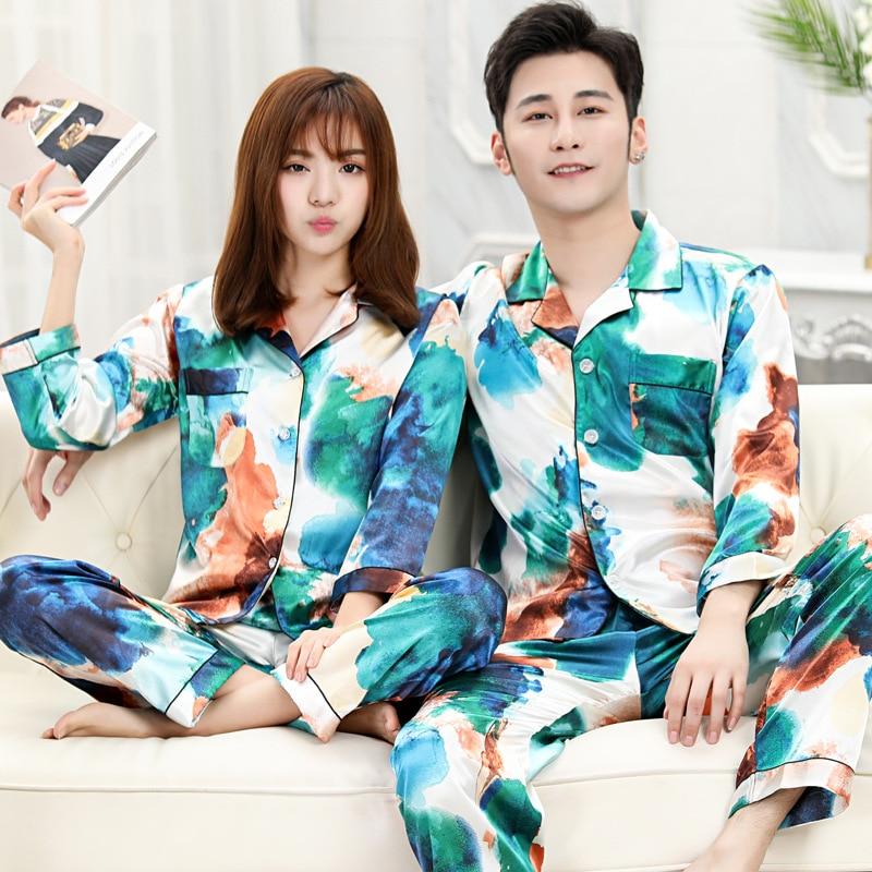 Tie-dye Couple Pajamas Women Spring Summer Ice Silk Fashion Cute Home Clothes Men's Plus Size Long Sleeve Pocket Korean Pijama
