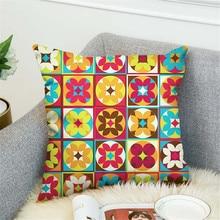 Mandala Pattern Cushion Cover Elephant Woven Linen Geometric Pillow Cover Home Decoration Sofa Decorative Pillowcase swans heart pattern decorative linen pillowcase