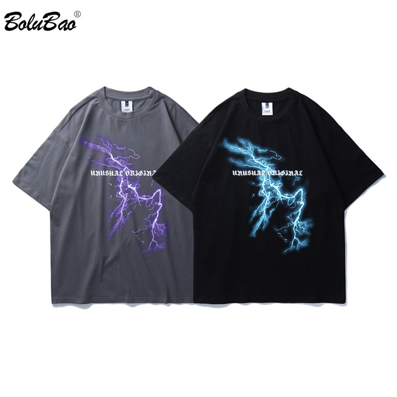 BOLUBAO Men's Street T Shirt Lightning Skull Moon Cotton T-Shirt 2020 Summer Men Short Sleeve High Quality Tees Shirts