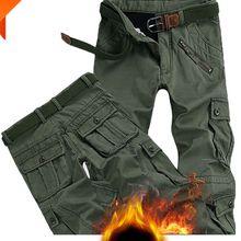 Winter Pants Trouser Pockets Worker Fur Loose Fleece Joger Warm Thick Male Baggy Plus-Size
