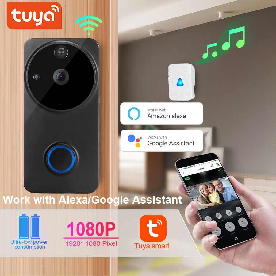 Tuya 1080P wifi video doorbell Alexa Google Home IP54 Waterproof Outdoor Wireless  Smart Video Doorbell Intercom Camera WiFi|Doorbell|   - AliExpress