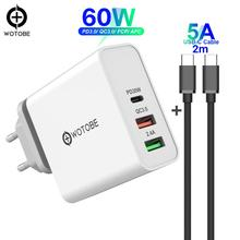 60W TYPE C USB C Wall Charger, PD30W QC3.0 Charger For S10 USB C Laptops MacBook Pro/Air iPad Pro iPhone 11  (and  USB C cable)