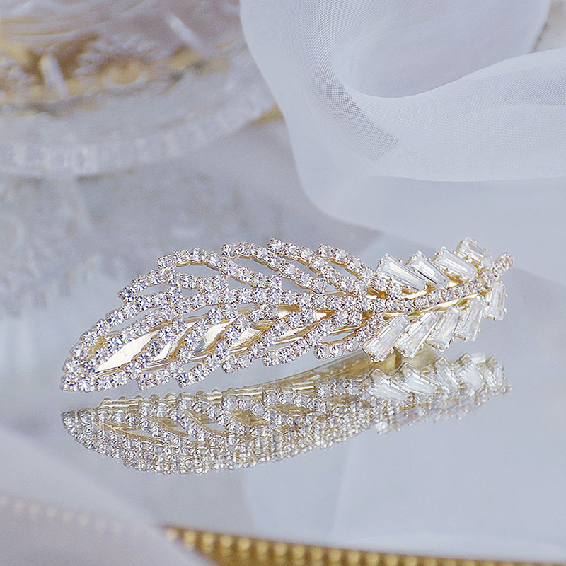 Korean Exquisite Crystal Zirconia Feather Hairpin Hairgrips 14k Real Gold Cute Hair accessories Pendant Jewelry-0
