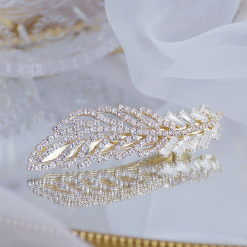 Korean Exquisite Crystal Zirconia Feather Hairpin Hairgrips 14k Real Gold Cute Hair accessories Pendant Jewelry