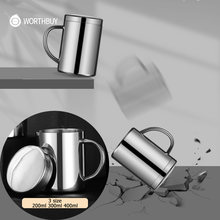 WORTHBUY Coffee Cup Leak-proof Double Layer Coffee Mug 18/8 Stainless Steel Milk Tea Mug Water Cup With Lid Kitchen Drinkware
