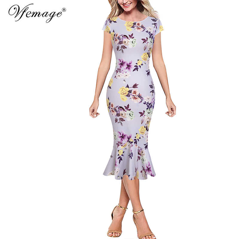 Vfemage Womens Elegante Vintage Herfst Pinup Dragen Aan Het Werk Office Business Casual Cocktail Party Ingericht Bodycon Mermaid Jurk 1053