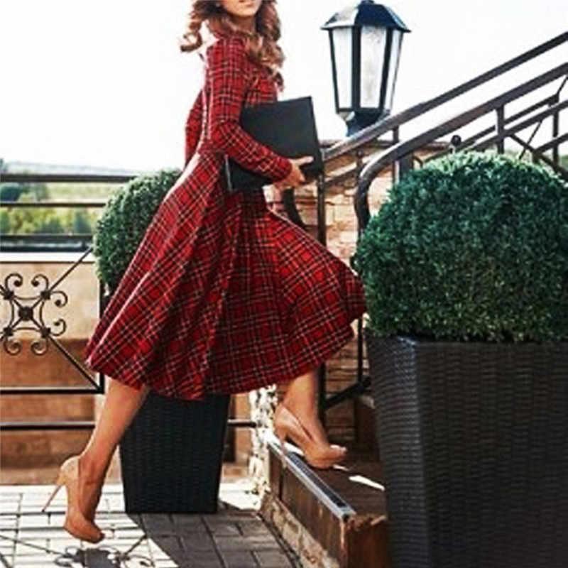 2019 осень зима размера плюс Красное Клетчатое хлопковое платье средней длины женское элегантное корейское облегающее платье-футболка вечерние платья с длинным рукавом vestidos O4