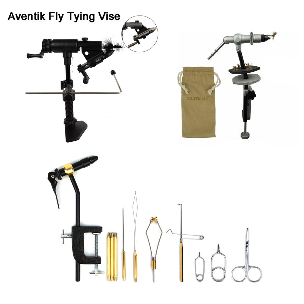 Aventik Quality Aluminum Fly Tying Vise Fly Tying Tools With One Jaw Fitting Bobbin Holder Whip Finisher Half Hitch Tool