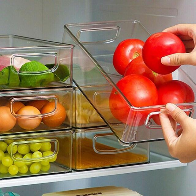Estante de Almacenamiento de Alimentos de Despensa de Pl/áStico Transparente Semoic Organizadores de Refrigerador de 6 Uds Organizadores de Refrigerador Apilables con Asas Recortables