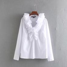 מדורג לפרוע V צוואר נשים פופלין חולצה 2019 סתיו פנאי ליידי ארוך שרוול חולצה Loose חולצות S6613חולצות נשים וחולצות