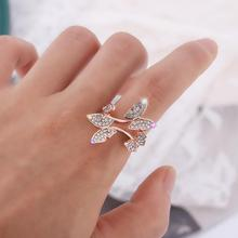 цена Fashion Butterfly Resizable Crystal Rings Gold/Rose Gold Color Cubic Zirconia Rings for Women Trendy Jewelry Gift Wedding Party онлайн в 2017 году