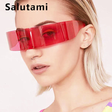One Piece Chic Party Sunglasses For Women Ins Popular Alloy Vintage Men Retro Arch Headband Shape Prom Eyewear Black Pink Shades chic rhinestone and leaf shape embellished black and red sunglasses for women