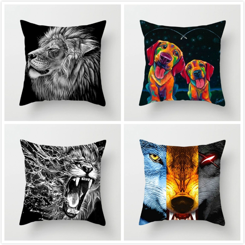 Fuwatacchi Animal Cushion Cover Abstract Cartoon Lion Wolf Bird Linen Pillow Cover For Home Sofa Chair Decorative Pillow 45*45cm