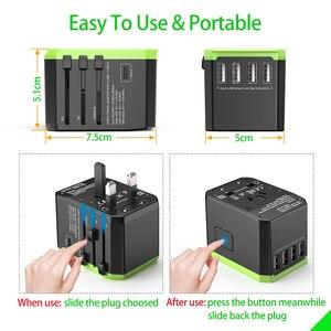 Image 4 - Adaptador de viaje Universal cargador de pared internacional adaptador de enchufe de CA con potencia inteligente de 5,6a y USB tipo C de 3,0a para EE. UU., UE, Reino Unido y Australia