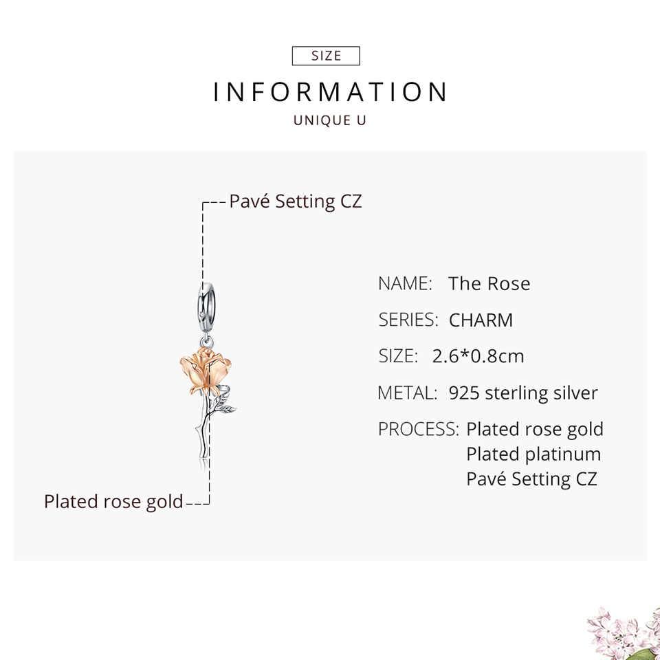 Bamoer 3D רוז פרח תליון קסם 925 כסף סטרלינג עלה זהב צבע קסמי לצמיד או שרשרת DIY Bijoux BSC145