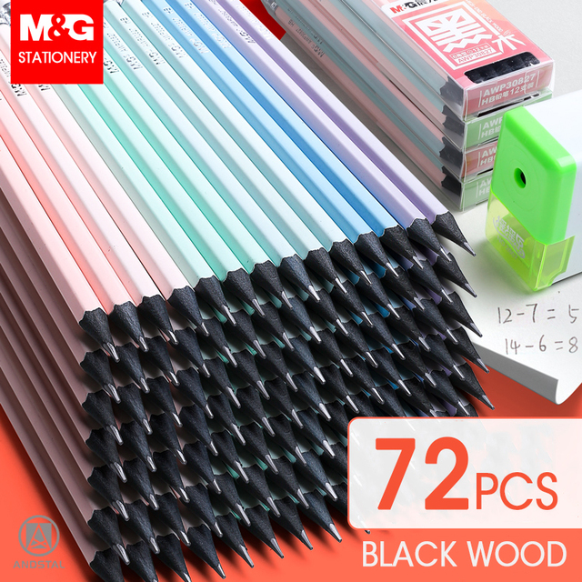 M&G 72/36pcs Cute HB/2B Black Wood Pencil with Pastel printing Wooden Lead Pencils Graphite Drawing Sketch Pencil set