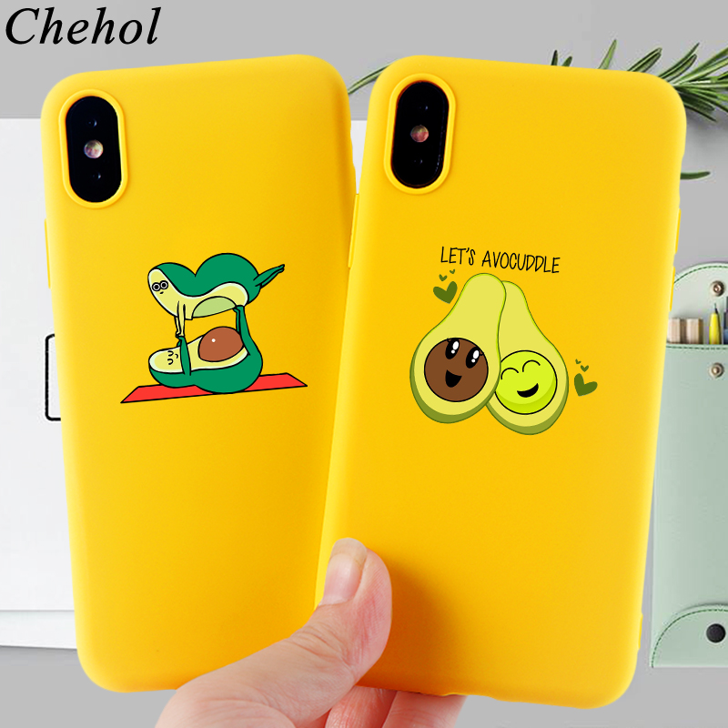 Cartoon Avocado Phone Case for IPhone 11 Pro X XS MAX XR 8 7 6s Plus Funny Case Soft TPU Silicone Candy Back Cover Accessories