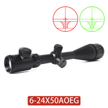 6-24X50 AOEG Riflescope hunting Shooting Red Green Adjustable Rifle Scope 1/4 MO
