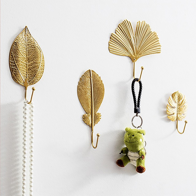 Nordic Light Luxury Household Leaf  Towel Hook Personality Creative Wall Porchway Key Wall Hanging Iron Wall Decoration