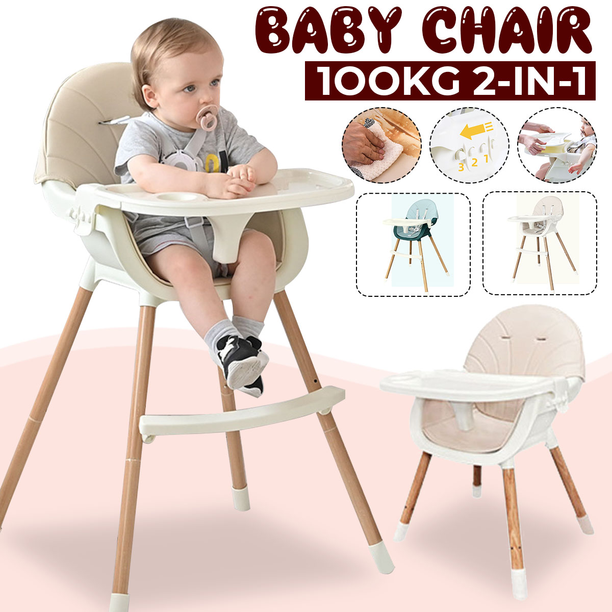Folding Baby Chairs for Children Feeding Multifunctional Portable Double Layer Baby Dining Table Seats with PU Cover
