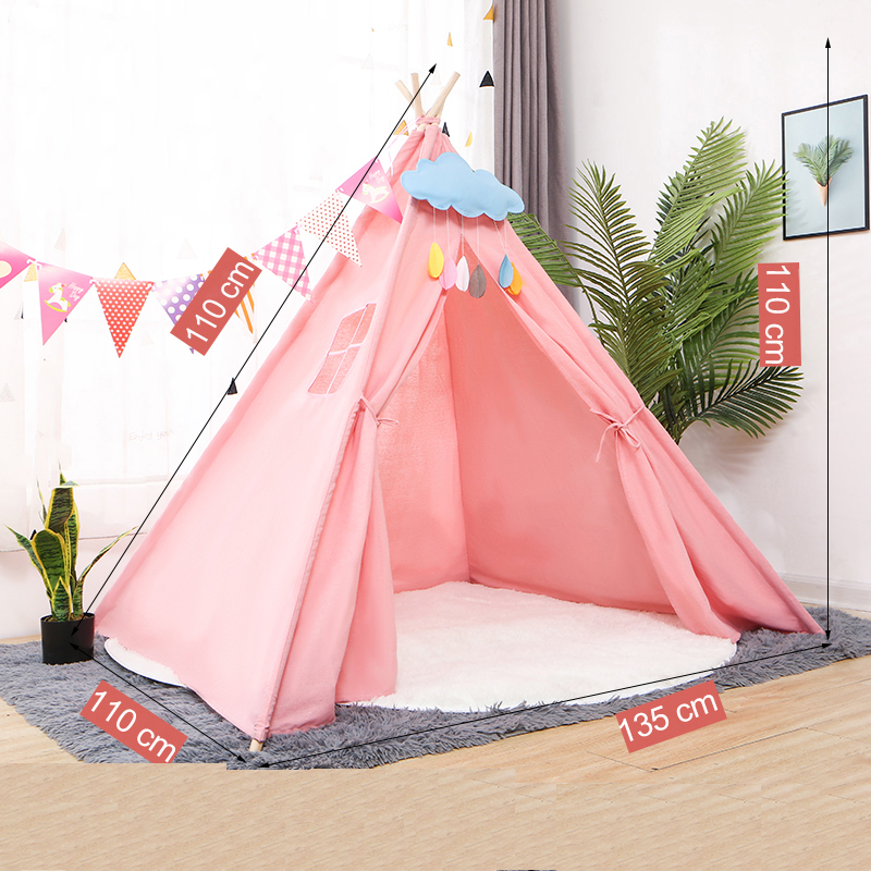 135*110cm Portable Kids Tent Cotton Canvas Tipi House Children's Tent Girls Play House Wigwam Game House India Triangle Tents
