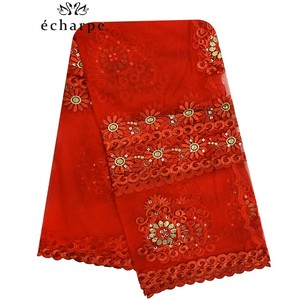 Image 2 - 2020 Новая африканская Женская шаль мусульманская вышивка шарф из тюли хиджаб шарф мусульманский шарф больших размеров для шали BM956