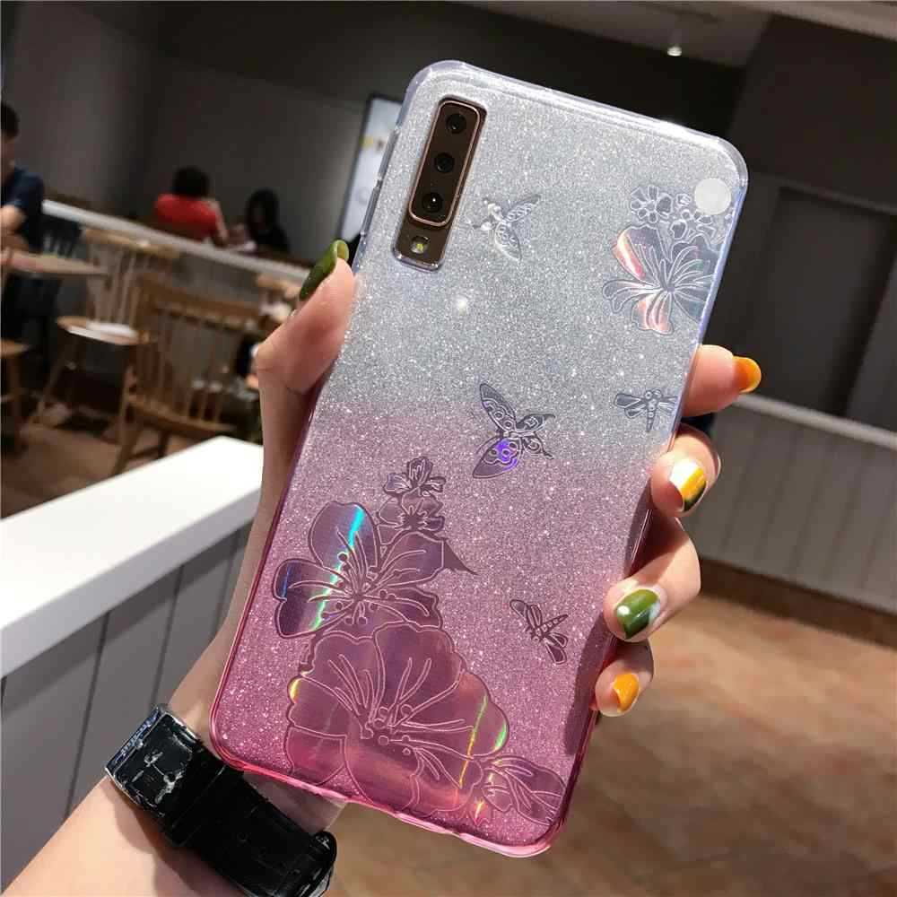 A10 Gradient Buterfly Rose Flower Glitter TPU Case For Samsung Galaxy A10 A20 A30 A40 A50 A70 A20E A10E Cover Soft Phone Cases