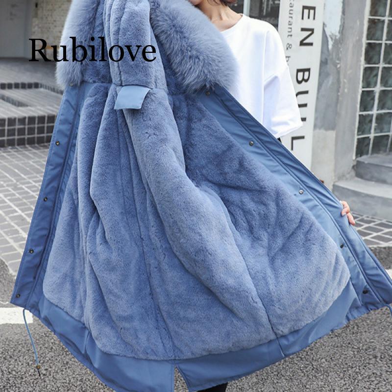 Rubilove S-XXXL New Parkas Women Winter 2019 Removable Velvet Liner Big Fur Collar Slim Adjustable Waist Thick Warm Outer