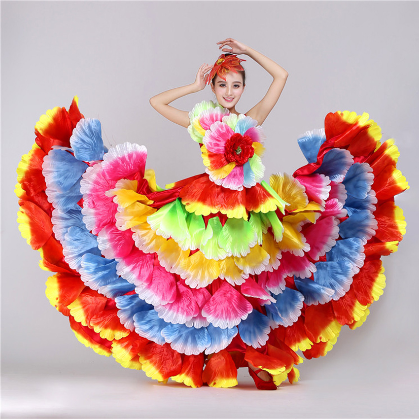 360 Degrees/yards Plus Size Women Spanish Flamenco Dress Floral Petal Maxi Gypsy Girls Stage Performance Belly Dance Costumes