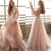 Champagne Off the Shoulder Wedding Dresses 2021 Long Sleeves Lace Appliques Beach Bridal Dresses Sweetheart Vestido De Noiva