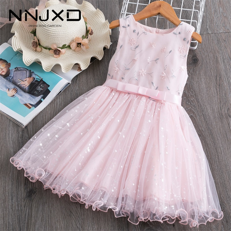 Summer Baby Kids Girls Dress Flower Princess Dress Sleeveless Party Clothes Mesh Tutu Dress For Girls 3-8Yrs Casual Clothing