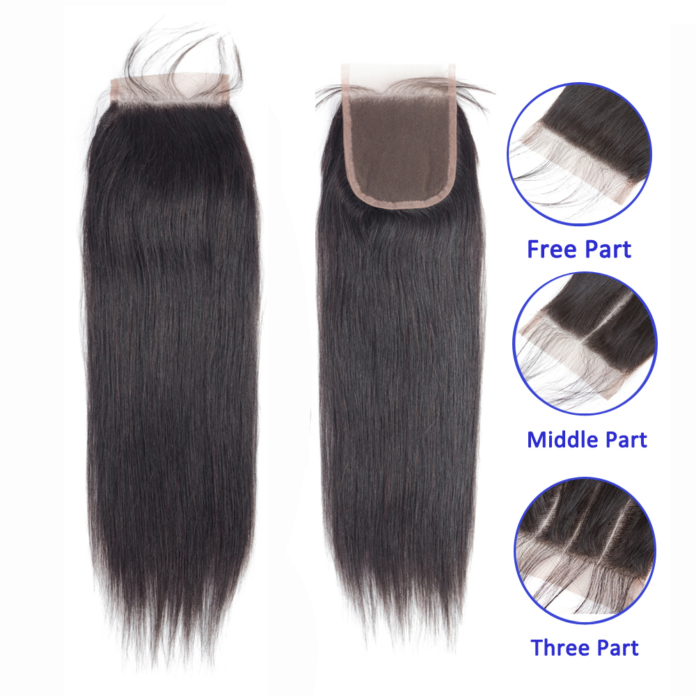 Sapphire Hair 4 X 4 Brazilian Closure Straight Human Hair Free/Middle/Three Part 100% Remy Lace Closure 8-20 Inch Natural Color