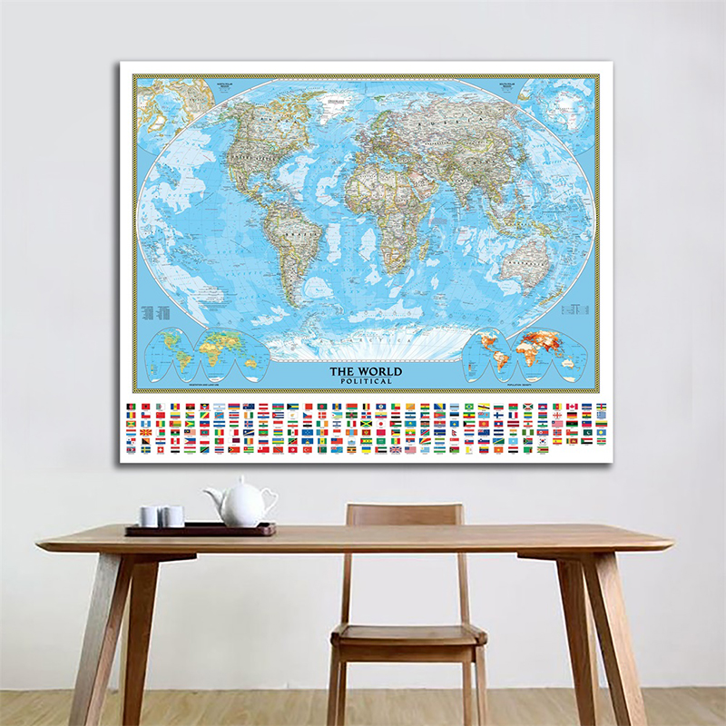 World Map Wall Poster 150x225cm World Political Map With Vegetation Cover Population Density Projection For Geographic Research