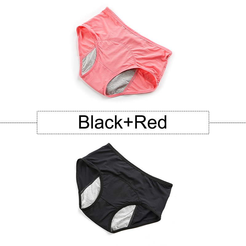 2Pcs/lot Cotton Menstrual Panties Leak Proof Period Underwear Women High Waist Seamless Briefs With Breathable Holes Plus Size 16
