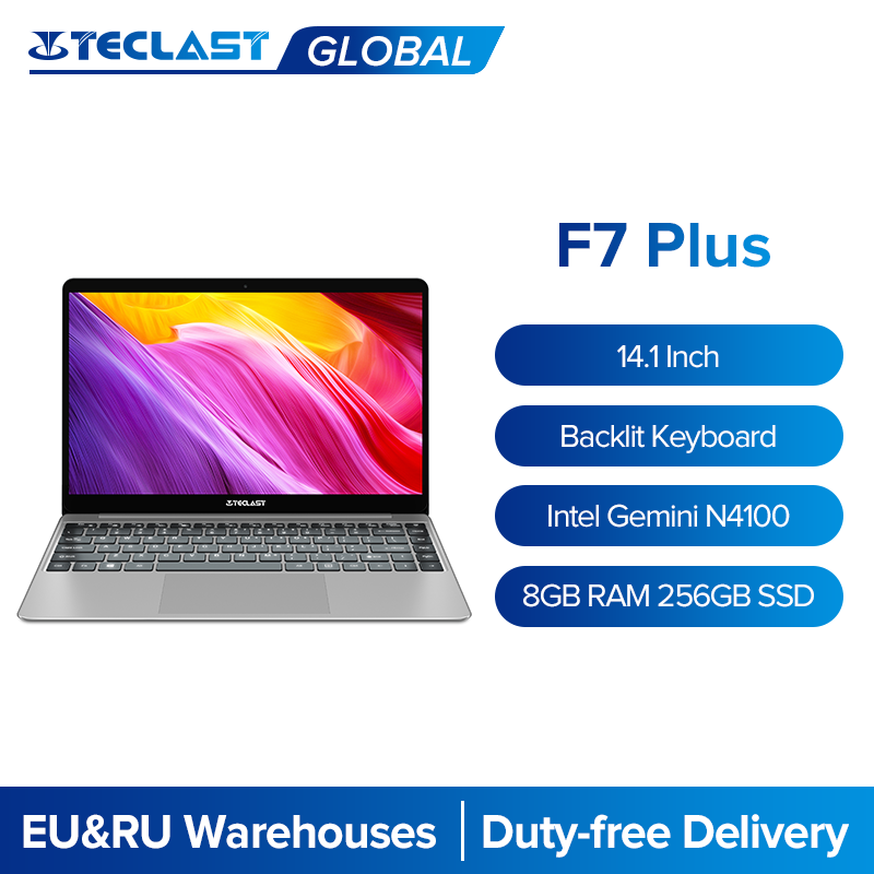 Teclast f7 plus 14.1 ips ips ips 1920x1080 portátil intel gemini lago n4100 8gb ram 256gb ssd windows 10 notebook backlight teclado