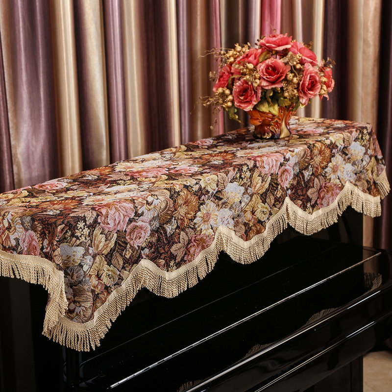175x75cm retro pastoral thicken <font><b>piano</b></font> <font><b>cover</b></font> tassel flower pattern <font><b>dust</b></font> <font><b>cover</b></font> for <font><b>piano</b></font> cloth <font><b>cover</b></font> cloth <font><b>dust</b></font> proof towel image