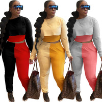 Contraste cor retalhos casual conjuntos de duas peças feminino streetwear manga cheia colheita topo e cintura elástica bodycon pant co-ord conjuntos