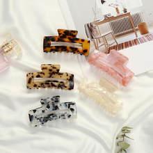 2020 Hair Clips Claw Retro Fashion Decorative Hair Clip Leopard Acetate Plate Grab Clip For Women Girls Resin Hairpins Hair