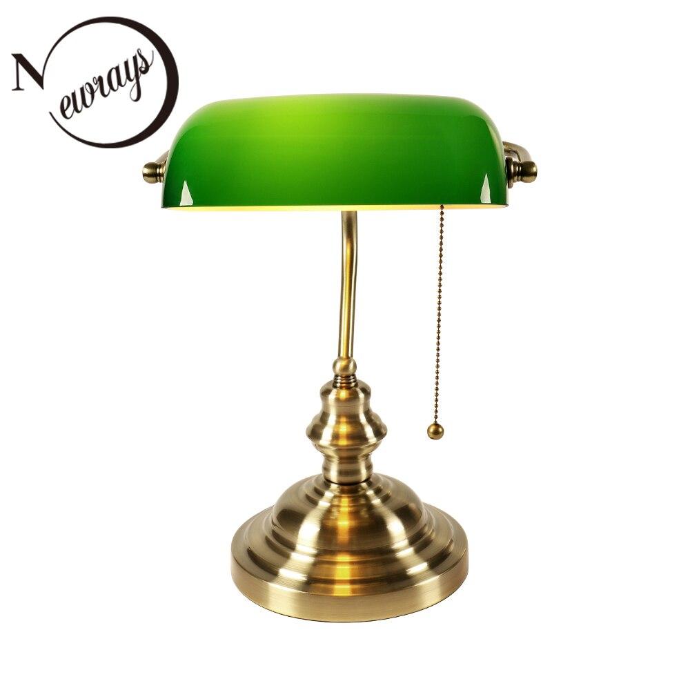 Clássico do vintage banqueiro lâmpada de mesa e27 com interruptor abajur vidro verde cobrir luzes para o quarto estudo casa leitura