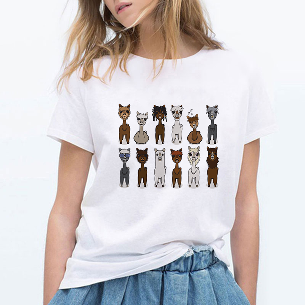 Alpaca Clothes T Shirt Women T-shirt Top Tee Cute Shirts Harajuku Spring Summer 90s  Plus Size Graphic Round Collar Tshirt