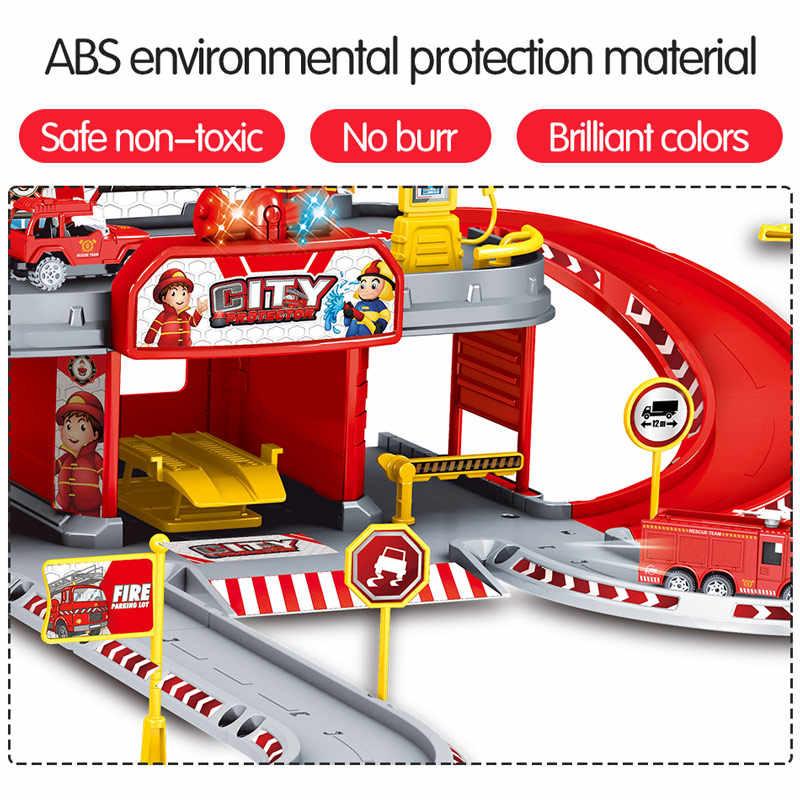 3D סגסוגת רכב עיר משטרת תחנת רכבת לשחק הנדסת אש משאית מסלול רכב DIY דגם בניין ערכות הרכבה צעצועי עבור ילדים