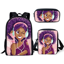HaoYun Primary Students Backpacks Kawaii African Girl Prints Pattern Kids School Bags Afro Arts Designer 3PCs/Set Book