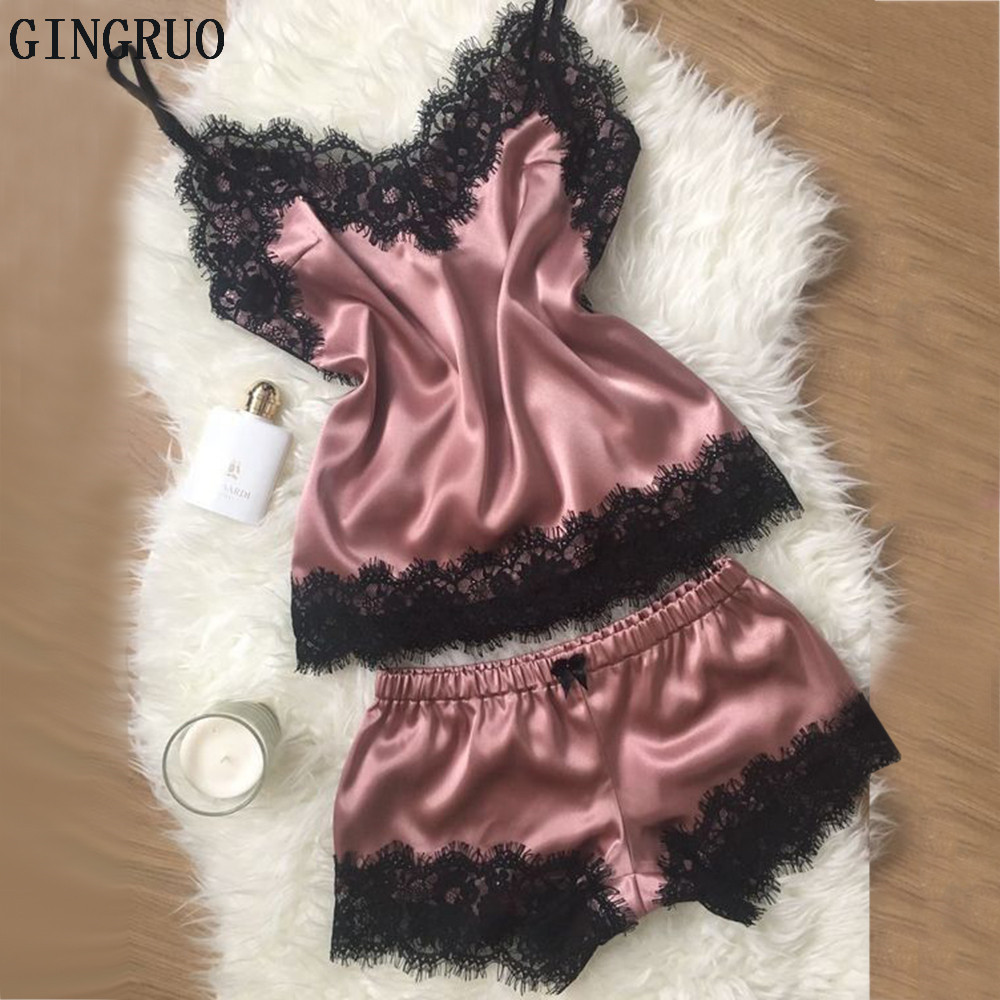 пижама Women Sexy Lingerie Silk Lace Sleepwear Set Sexy Lingerie  Set 2020 Girl Sexy Fashion Lace Lingerie Temptation Babydoll