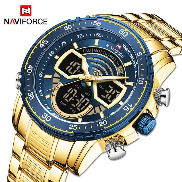 NAVIFORCE Mens Military Sports Waterproof Watches Luxury Analog Quartz Digital Wrist Watch for Men Bright Backlight Gold Watches 2