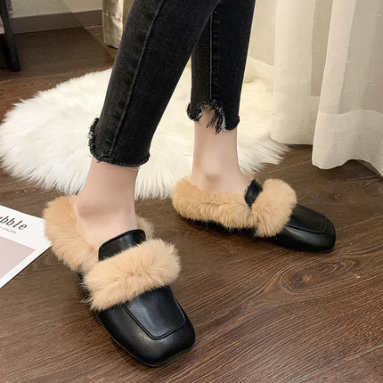 2019 autumn new Korean literary retro style fashion simple square head rabbit hair comfortable half slippers 24