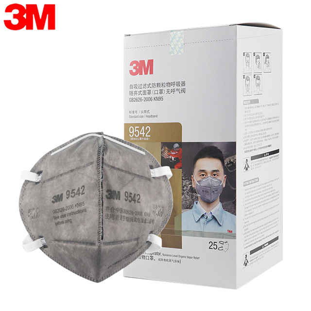 3M 9542 25Pcs/BOX KN95 Mask Breathable Protective Mask Safety Masks 95% Filtration Active Carbon  for Dust Particulate Pollution