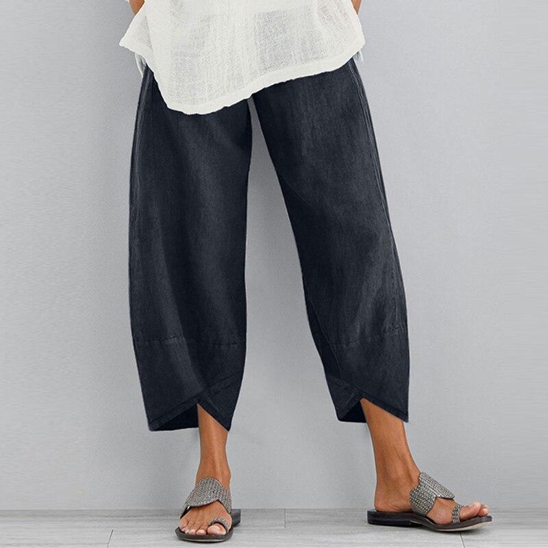 ZANZEA Vintage Linen Pants Women's Summer Trousers Casual Elastic Waist Asymmetrical Pantalon Female Cropped Pants Oversized