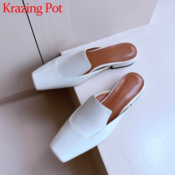 Krazing pot new vintage full grain leather slip on mules square toe low heels high fashion deep mouth slip on summer pumps L60