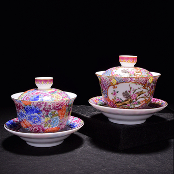 one gaiwan Jingdezhen porcelain boutique cup bowl color enamel floral blossom handmade covered bowl with cup saucer lid 150ml