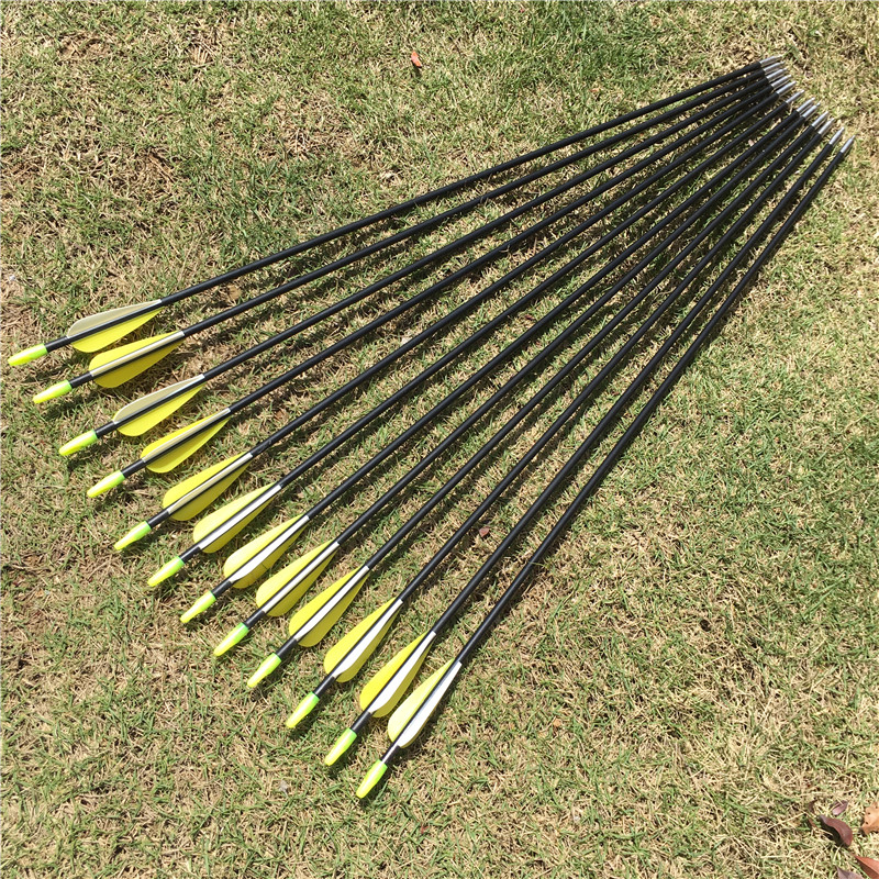 6/12/24Pcs 31 Inches Fiberglass Arrow Spine 700 Yellow White Feather For Recurve Bow Recurve Bow Practice Archery High Quality